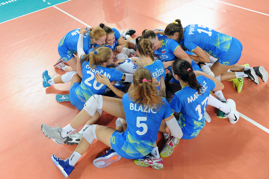 Slovenia's Team celebrating a victory over Bulgaria in match between Slovenia and Bulgaria at 2017 FIVB Women's U23 World Championship - Ljubljana, Slovenia, 10-17.09.2017