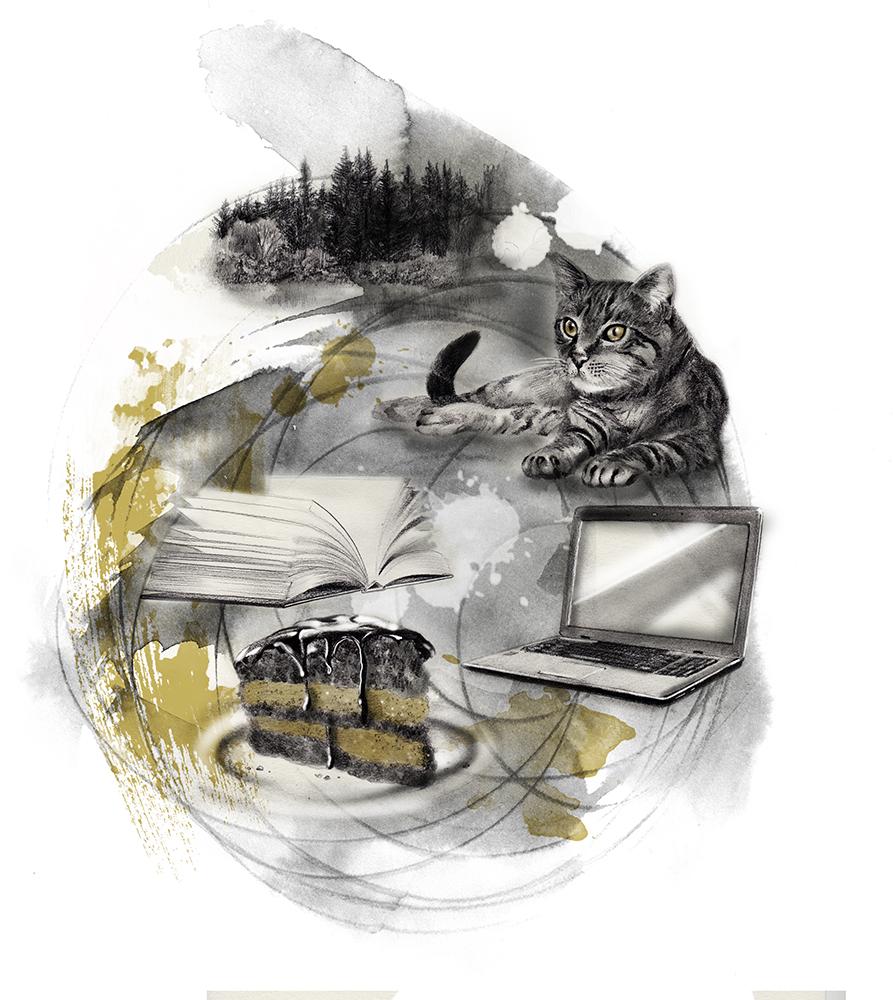 PET NAJLJUBŠIH DESE MUCK: mačka, računalnik, gozd, torta, knjiga