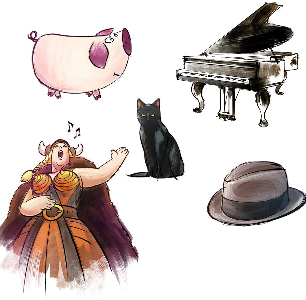 PET NAJLJUBŠIH: 1. Melkijad 2. Klavir 3. Operna pevka 4. Črn maček 5. Klobuk