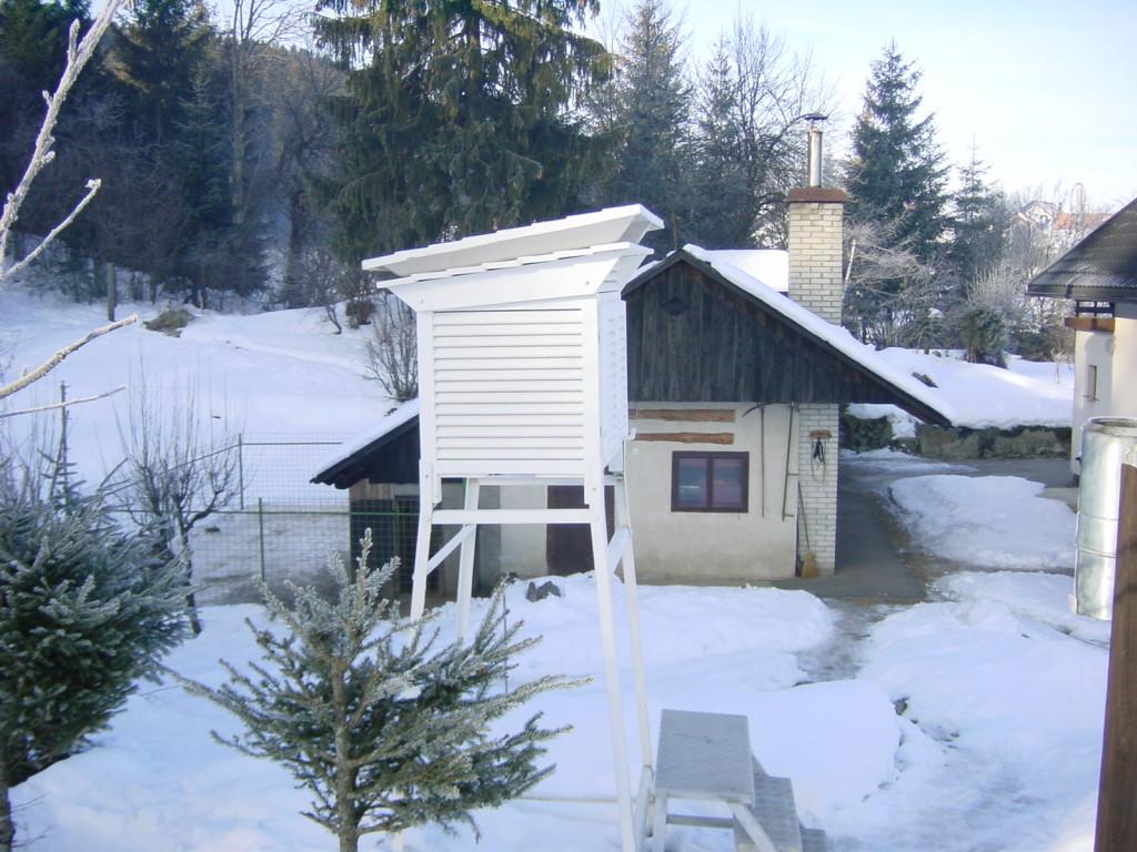 Merilna postaja Babno polje, kjer je bila izmerjena najnižja temperatura v Sloveniji.