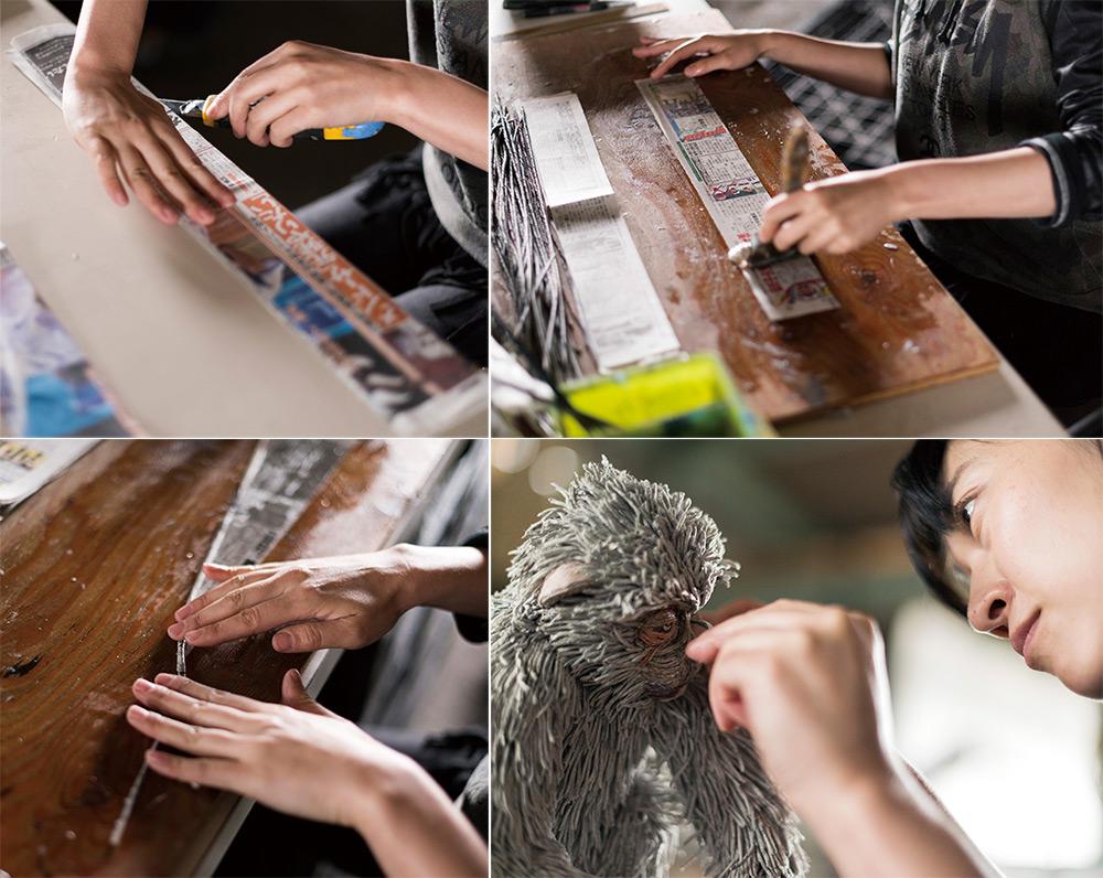 Chie Hitotsuyama pri procesu zvijanja papirja.